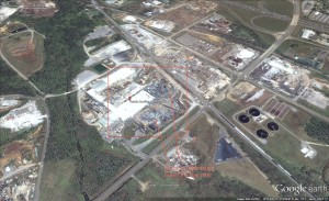 Image Courtesy of Google Earth: Captured on April 27,2011 the day after the tornado